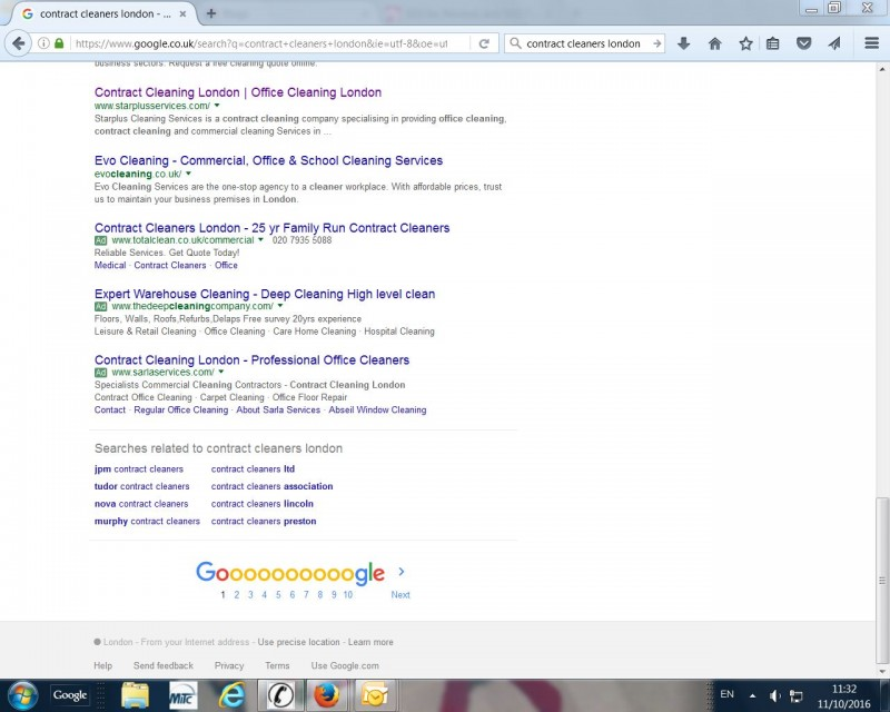 Back to Google search 1st Page