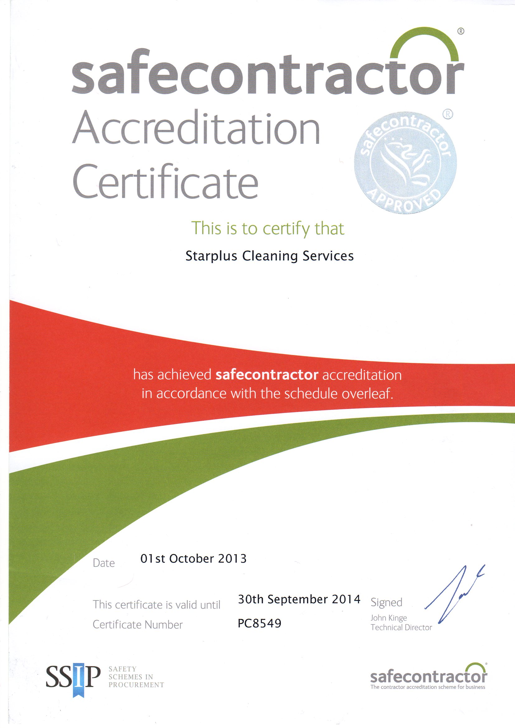 Safe contractor accreditation 2013